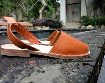 TUSK LEATHER Sandals Tan Slingback no strap | Womens Leather Sandals / Womens Shoes / Leather Shoes / Sizes EU 36 - 42 /  Bohemian