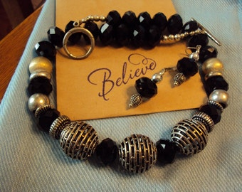 Chunky Black and Silver Set