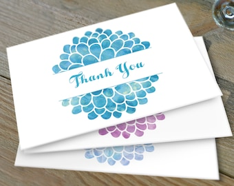 Watercolor Floral Thank You Note, Set of 10 Notes, Note Card Set