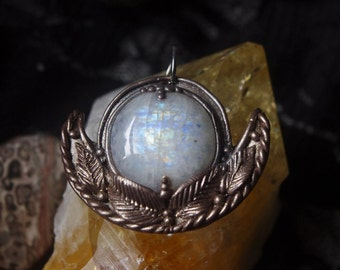 Handmade magical large rainbow moonstone polymer clay pendant jewelry