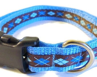 Small Blue/Brown Argyle Dog Collar