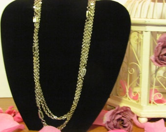Gold double strand chain necklace