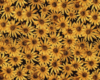 "Floral Fabric: Timeless Treasures - Metallic Harvest CM3214 Sunflowers Floral Fabric 100% cotton Fabric by the yard 36""x43"" (C22)"