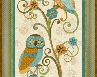 "Owl Fabric, Floral Fabric: Who's Who Owls on Tree by Paintbrush Studio 100% cotton fabric by the PANEL 24""x44"" (J77)"