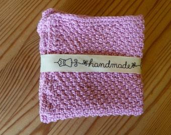 Cotton Wash Cloth   Hand Knit Baby Wash Cloth   Pink Baby Cotton Wash Cloth