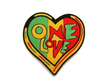Heart One Love Bob Marley Rasta Reggae Embroidered Applique Iron on Patch 7.5 cm. x 7.7 cm.