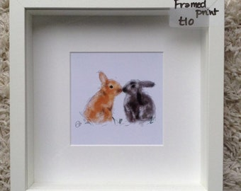 Framed rabbit painting // rabbit painting // rabbit print // peter rabbit nursery // bunny nursery // rabbit art // bunny print // bunny art