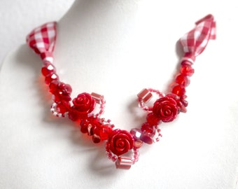 fabric necklace red and white gingham flowers red rose.