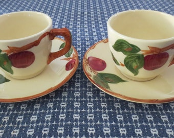 2 Franciscan Apple Ware Cups & Saucers California USA 1941-1947 backstamp EXC!