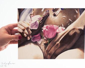 Hand Art Print - Flowers - Sensual Body Art