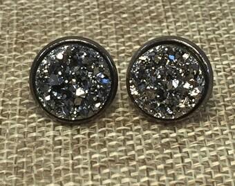 Gunmetal Druzy Earrings - Drusy - Bridesmaid Gift - Stud Earrings - Bridal Jewelry - Trend Jewelry - Boho - Charcoal - Earrings - Wedding -