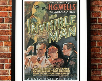 Invisible Man 'HG Wells' - Vintage Sci Fi / Horror Movie Poster Print