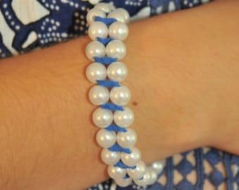 Blue String Pearl Bracelet