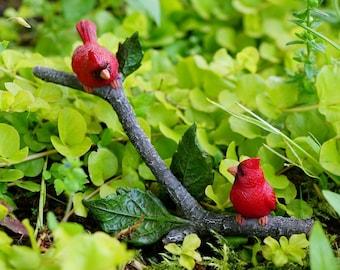 Miniature Dollhouse FAIRY GARDEN ~ Cardinals on a Branch  ~ NEW