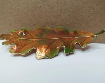 Vintage Autumn Enamel Leaf Brooch; Green, Brown, Rust Fall Color Pin; Figural Single Oak Leaf Broach (D657)