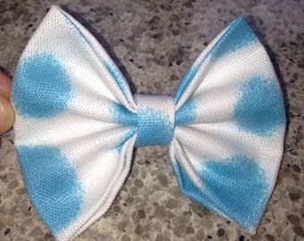 Blue spot hair bow