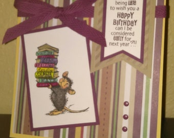 Funny, House Mouse Image, Women's, Best Friend, Happy Belated Birthday Greeting Card