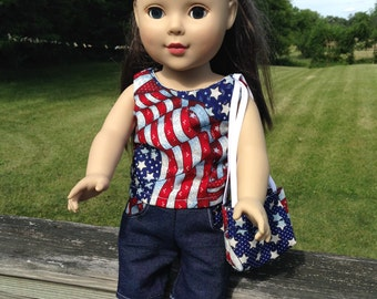 Patriotic  Flag Shorts Set with Hairband and Tote