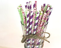 Daisy Floral Garden Paper Straw Set of 25! For Weddings, Favors, Birthdays or Gifts!