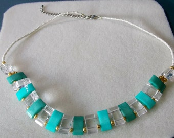 Teal Variation Square Bead Necklace