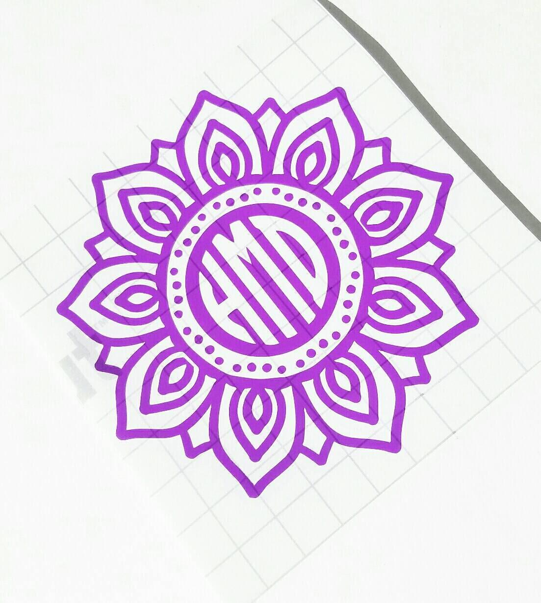 Shop Floral Monograms At Littlebrownnest Etsy Com: Flower Monogram // Mandala Monogram // Vinyl Decal // Laptop