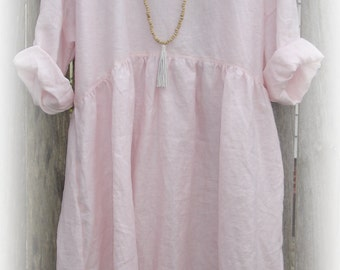 Pale Pink Linen Dress, one size fits most, natural fabric, long sleeves