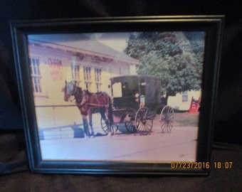 Horse and buggy framed photo