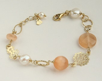 Bracelet, Czech Crystal Beads, Freshwater Pearls, Refined Jewelry, Handmade Italian Jewelry, Your Own Gift 7914