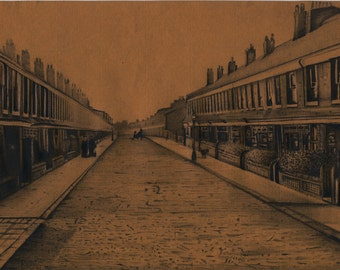 Pencil drawing, Edwardian street scene