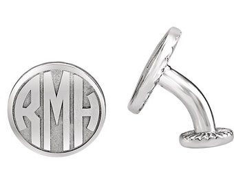 Sterling Silver Cufflinks, 16.5mm 3-Letter Initial Monogram Cuff links, custom Men's Jewelry, Wedding Accessories, groomsmen gifts