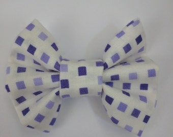 Purple Boxes Fabric Bow