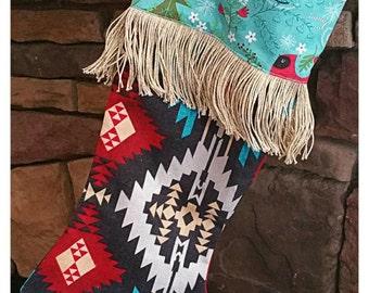 Funky shabby chic stocking, Christmas stocking w/ fringe, Boho stocking, Gypsy stocking, Gypsy spirt stocking, Tribal stocking