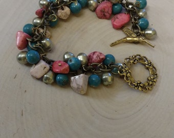 Coral and Teal Hummingbird Bracelet