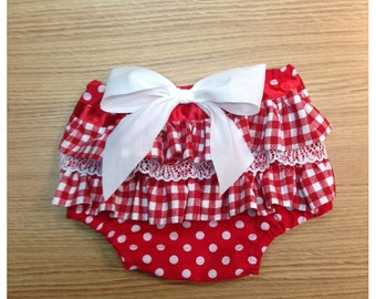 1950s Ruffled Diaper Cover, Rockabilly Retro Baby Diaper Cover FREE SHIPPING