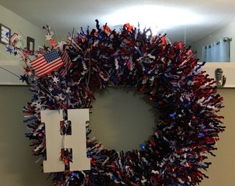 H monogram 4th of Jult wreath