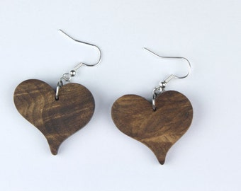 Heart Stud Earrings elegant Walnut wood