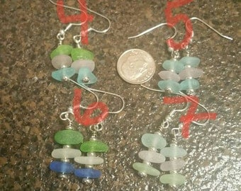 Genuine Seaglass Beach glass earrings with silver plated post and accents