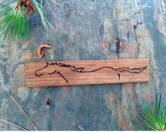 Unique Wooden Horse Bookmark Walnut Wood