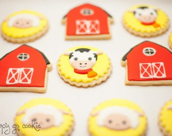 Farm theme sugar cookies (one dozen)