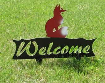 Fox, Welcome Sign, Metal Art, Yard Art, Garden Art, Whimsical, Steel