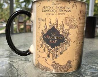 SALE! Harry Potter Mug, Color Changing mug, Marauders map mug, Harry Potter Coffee Cup Magic Mug