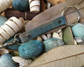 "Ready-to-Ship, Turquoise, Hand-Stamped, Vegetable-Tanned, Leather ""LIVE"" Key Fob, Key Ring, Key Chain, Purse Charm, Bag Charm"