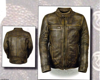 1550 Men's Distressed Vintage Brown Leather Jacket - Vented - Zip out Liner