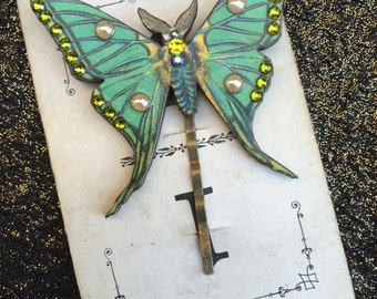 The Green Fairy Queens Moth Hair Pin Bobby Pin Swarovski Crystals Twinkling