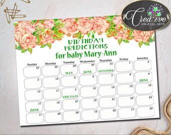 Rose Baby Shower Shower Watercolor Birth Calendar Prediction Card BIRTHDAY PREDICTIONS, Printable Files, Party Décor - flp02