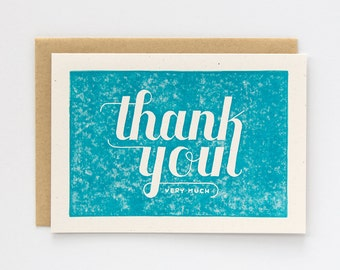 Set of 6 Thank You Cards | Block Printed Card | Handmade Blank Greeting Card | Hand Lettering | Calligraphy | Linocut