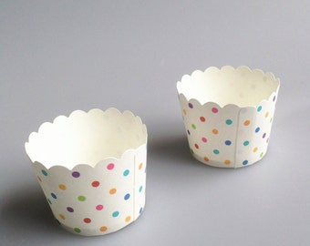 Colourful Small Polka Dots Baking Cups, Cupcake Cups, Treat Cups, Ice Cream Cups, Candy Cups, Favour Cups - BC006