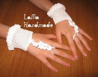 White crocheted cuffs