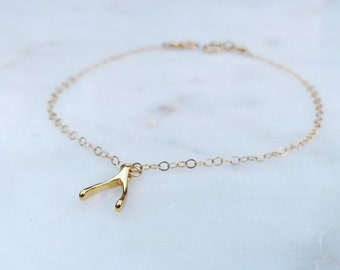 Tiny Gold Wishbone Bracelet / Wishbone Bracelet / Minimalist Bracelet / Layering Bracelet