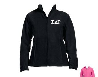 Sigma Delta Tau Fleece Jacket . White Greek Stitched Letters